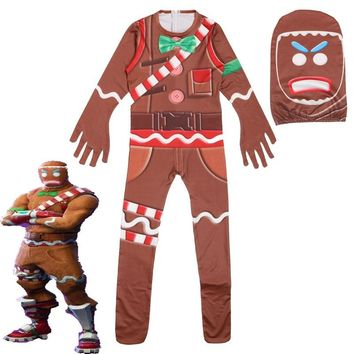 Children's Gingerbread Man Cosplay Costume Party Halloween Christmas Costume for Kids Brithday Gift Boy's Fancy Jumpsuits Mask