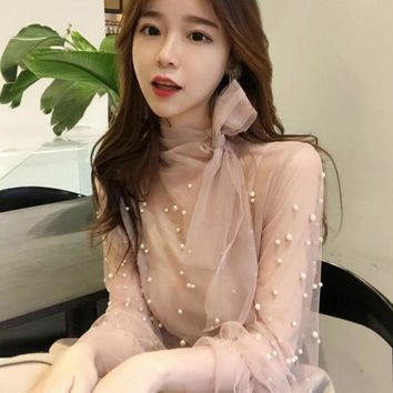 LMFLD1 2018 Spring Long Flare Sleeve Bow Tie Mesh Blouses Women Transparent Sexy Mesh Shirts Women Bear Work Pearl Mesh Tops Bow Tops