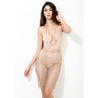 Nude See Thru Party Dress