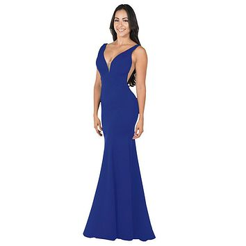Deep V-Neck and Back Mermaid Long Formal Dress Royal Blue