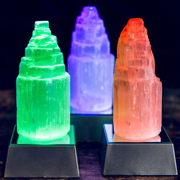 Mini Selenite Tower w/ LED Base