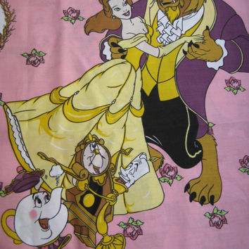 Vintage Disney Beauty and the Beast Fabric Panel 33 x 82 Inches Material Unused Clean Kid Girl Craft Bedroom Bed Decor Destash