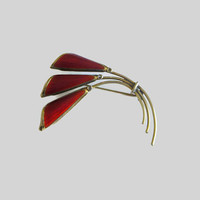 Oystein Balle Brooch, Modernist Jewelry, Norway Sterling Flower Pin, Vintage Floral Brooch, Rich Red Enamel & Gilded Sterling Silver