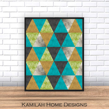 Mid Century Home Decor Abstract print Geometric print Scandinavian wall art triangle poster  Wall Print, Digital Download, Printable Art