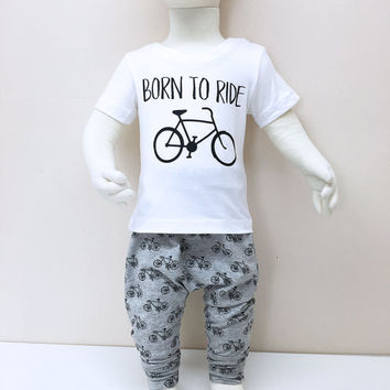 Baby Harem Pants and tshirt with bicycle print, Toddler baggy pants and Bicycle Tshirt for boys, Born to ride my bicycle Baby Outfit