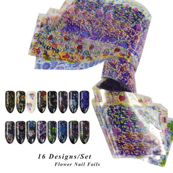 16pcs/set Transparent Paper Flower Colorful Nail Foils Nail Art Transfer Sticker Decals DIY Craft Beauty Decorations CH500