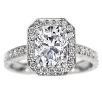 Engagement Ring - Cushion Diamond Halo Engagement Ring Vintage Style 0.40 tcw. In 14K White Gold - ES49CU