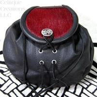 Red Fur Scottish Rob Roy Style Sporran Black Leather Belt Pouch Dyed