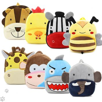 15 styles New arrival Kid's Plush Backpack cute animal Cartoon Bags plush Doll toy Bee Zebra Unicorn best gift free shipping