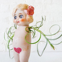 30% SALE Little Miss Val Fly Girl w Pink Glitter Bush w Air Plant Wings Garden - Vintage Bisque Art Doll