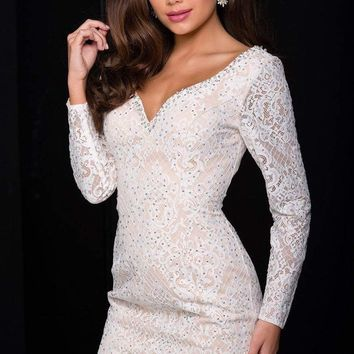 Jovani - JVN41692 Long Sleeve Beaded Lace Fitted Short Dress