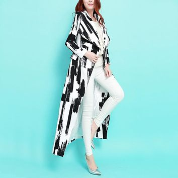 Spring Fashion Vinatge Black And White Abstract Geometric Print Slim Long Trench Coat Plus Size Double Breasted Long Outwear