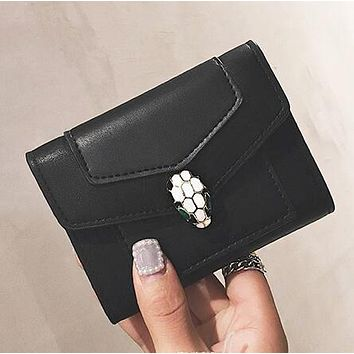 """Bvlgari"" Stylish Women Leather Chic Buckle Wallet Purse Card Package Black"