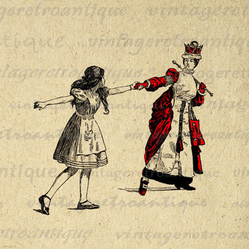 The Red Queen Pulling Alice Image Graphic Digital Alice in Wonderland Printable Download Antique Clip Art for Transfers HQ 300dpi No.2497