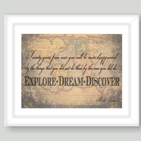 Explore Dream Discover Mark Twain Vintage Map 8x10 Custom Travel Map Wall Typography Art Print Gift