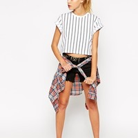 ASOS Cropped Boyfriend T-shirt with Vertical Pinstripe