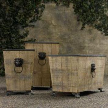 Leo Salvaged Wood & Metal Planters | Reclaimed Wood | Restoration Hardware