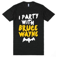 I Party With Bruce Wayne-Unisex Athletic Black T-Shirt
