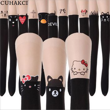 2016 Spring Summer New Fashion Black Eiffel Tower Cat Tail Patchwork Totoro Velvet Tattoo Women Tights Pantyhose Sexy Thin