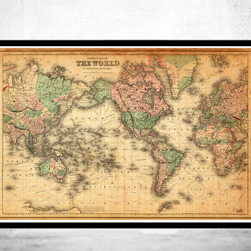 Vintage Map of The World 1876 Mercator projection
