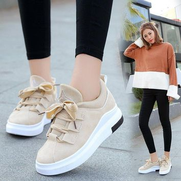 Sneakers Breathable Round Toe Casual Shoes Student Platform Flats Lace Up