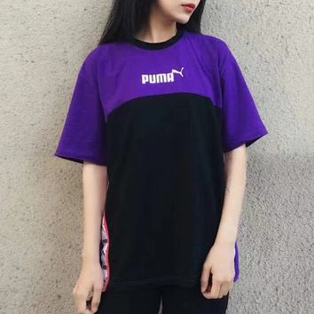 PUMA Contrast Women Men Fresh Tee Shirt Top B-LWWM-SZ  Black/purple
