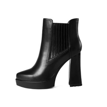Spring Autumn Cow Leather Warm Platform Slip-On Ankle Chelsea Boots Super High Square Heel Women Shoes