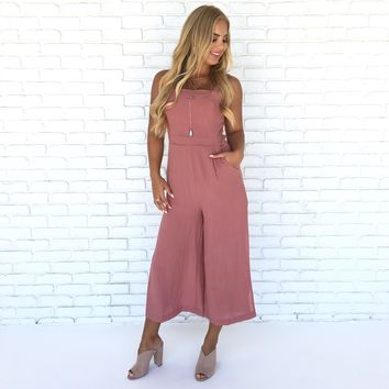 Melrose Jumpsuit in Deep Rose