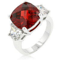 Jonquil Ruby Red Cushion Cut Cocktail Ring | 9ct | Cubic Zirconia | Silver