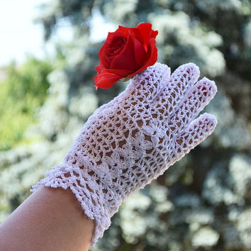 Crocheted gloves wedding gloves white romantic