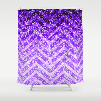 Zig Zag Sparkley Texture G229 Shower Curtain by MedusArt