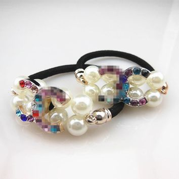 Free shipping,10pcs   New Women Pearl Crystal Rhinestone Hair Band Rope Elastic Ponytail Holder