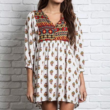 Boho Baby Doll Tunic - White