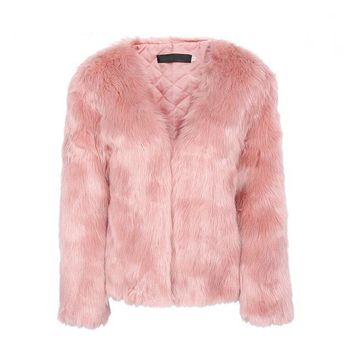 Elegant rabbit fur overcoat
