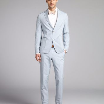 Tailor Made  Light Blue Men Suits  Slim Fit Casual Groom Prom Dress Tuxedo Summer Beach Style 2 Piece Blazer Jacket+Pants Terno