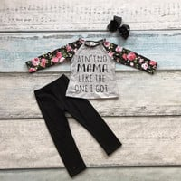 fall/winter boutique ain'tno mama cotton clothing kids wear floral print pant outfits baby girls matching accessories bow