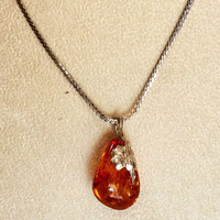 Baltic Amber Pendant with Sterling Silver Floral Bail and Sterling Chain