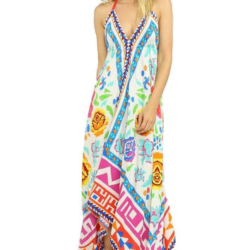 ROSALITA SCARF PRINT OPEN BACK MAXI DRESS - MULTI