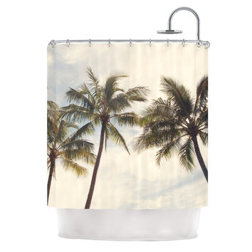 "Catherine McDonald ""Boho Palms"" Coastal Trees Shower Curtain"