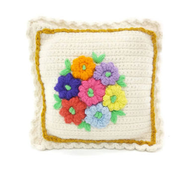 Vintage Crochet Pillow, Flowers, Spring, Decorative Throw Cushion, Granny Chic, Kitsch, Colorful, Floral