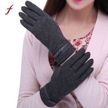 2017 Womens touched Gloves Screen Winter Fashion Ladies Lace Splice Warm Gloves Mittens Cashmere Female Solid