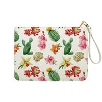 Watercolor Cactus Flower Clutch - 7x9 in Faux Leather Handbag - Clutch - Pouch - AGB-036-FULL