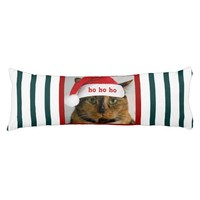 Cute Xmas Cat w Santa Cap on Green White Stripes