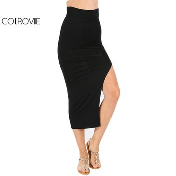 COLROVIE Women Bodycon Split Side Skirts New Arrival 2017 Sexy Summer Womens Casual High Waist Maxi Pencil Skirt