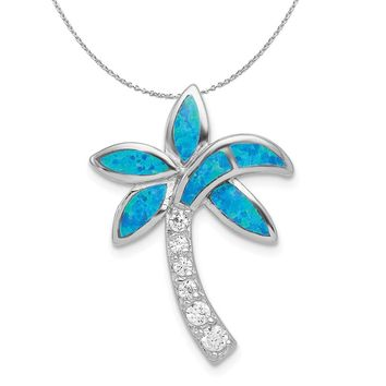 Sterling Silver, Created Opal and Cubic Zirconia Palm Tree Necklace