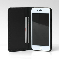 Personalized Leather IPhone 5 Case / IPhone 5 Wallet / Women's or Men's iPhone 5s Case Wallet / Vegetable Tanned Leather Black