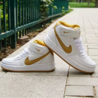 NIKE Women Men Running Sport Casual Shoes Sneakers Air force Hight tops Full color White Golden hook