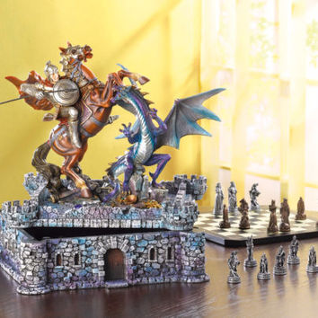 32 Pieces Medieval Knights and Dragons Battle Chess Set Board Game Storage Case