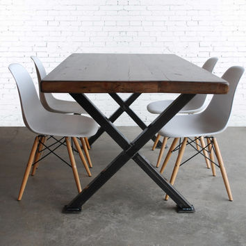 Industrial Table made of reclaimed wood and your choice of leg base style.