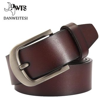 [DWTS] fashion cow genuine leather men fashion classice vintage style male belts for men pin buckle size 125cm